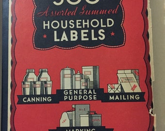 Original 1920's household gummed labels booklet Poison, canned foods, mailing labels general purpose lettering numbers Railway Express 160+