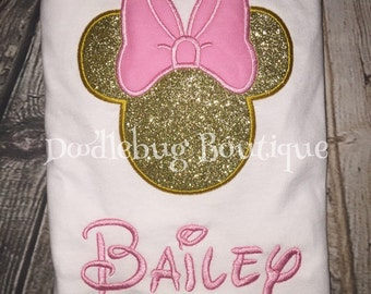 Custom Glitter Minnie Mouse shirt with name