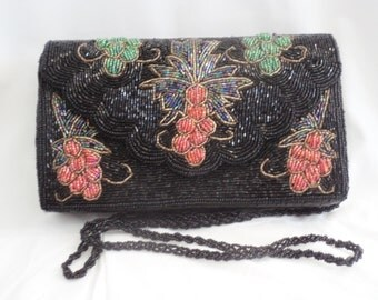 vintage beaded bag, evening purse, black beaded bag, beaded clutch bag, black beaded clutch, vintage clutch, pookieandness