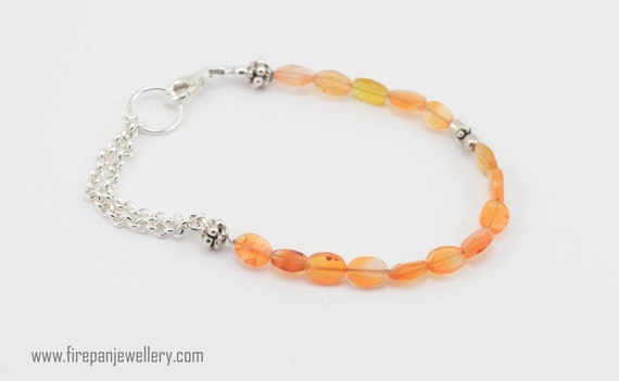 Carnelian bracelet, gemstone bracelet, handmade, sterling silver chain, chain bracelet, stacking, orange gemstone, feminine, gift for her
