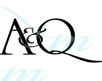 Intertwining Ampersand Monogram - A&Q (instant download - JPG, PSD, PDF)