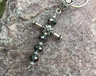 Grey glass beaded cross necklace with snake chain