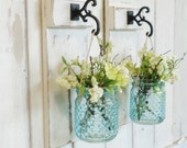 New...Rustic Chic Cottage Wood Wall Decor...Set of 2 Individual Hanging Turquoise Glass Hobnail Jars...Your Choice of Color