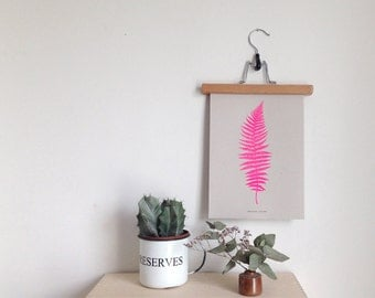 Fern botanical print in bright pink limited edition Risograph 'Botanique Electrique' collection