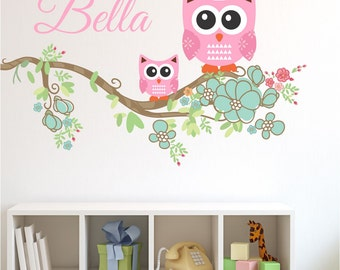 Owl Branch Custom Name Wall Decal - Nursery Wall Decals-Branch Decal with Name Decal, Children's Vinyl Wall Decals-Wall Stickers, Girls A22