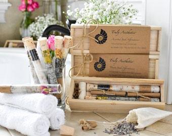 Organic & All Natural Herbal Bath Salt Test Tubes. (Assorted Bath Affirmations) Wedding, Hostess, Birthday, Bath Tea, Eco, Spa, Luxury gift