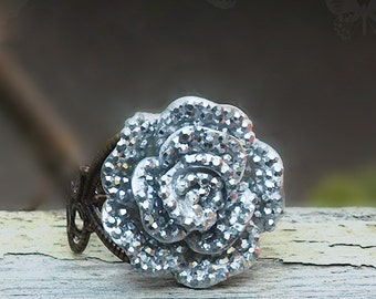 Glitter Rose Ring, Brass Filigree Adjustable Ring with a Sparkly Silver Finished Rose, Boho