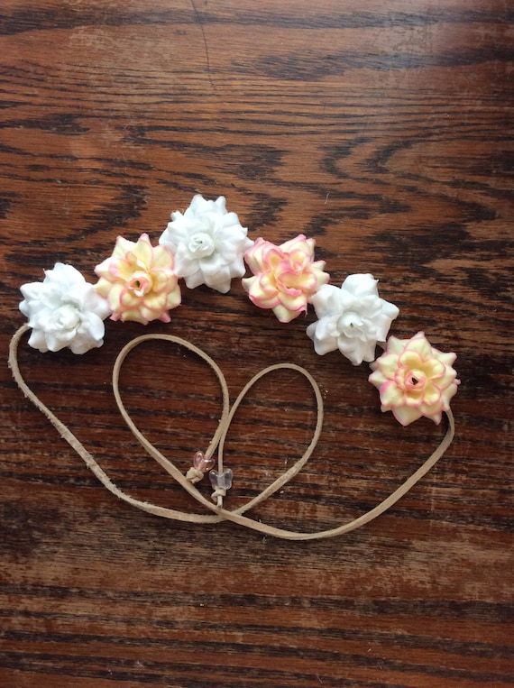 White and Pale Pink Flower Headband