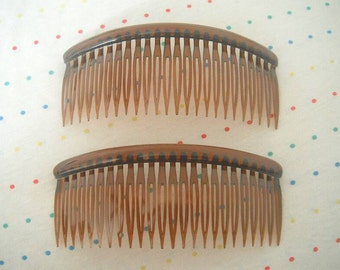 "Large Pair of Translucent Brown Plastic Hair Combs, 5"" Wide"