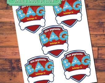 "Instant Download:  Paw Patrol Inspired Favor Bag labels ""This Puptastic Bag Belongs To"" - Digital File."
