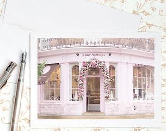 London Photo Notecard - Pink Cake Shop, Blank Note Card, Greeting Card, Stationery, Blank Notecard