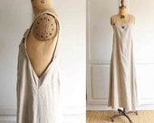 vintage 80s linen maxi dress natural wash made in usa