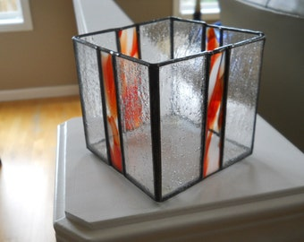 """4"""" X 4"""" X 4"""" Stained glass candle holder"""