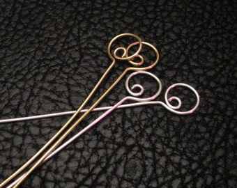 Swirl head pins, eye pins, beading supplies, hoop eye pins, hoop Headpins, jewelry findings, beading pins, beading component, 4