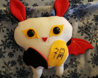 Lucky Bat plushie with good fortune totem Asian luck