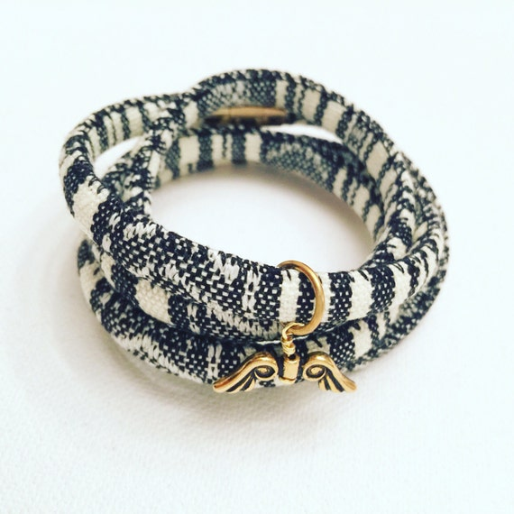 Black & White Cotton Wrap Bracelet with Gold Angel Wings Charm