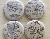 Octopus Vintage Dictionary Illustration Magnet Set of 4