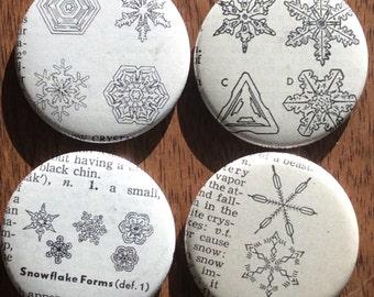 Snowstorm Vintage Dictionary Magnet Set of 4