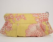 Nana handmade mustard and red floral print Sophie clutch
