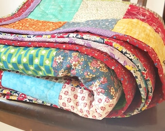 Quilt, Patchwork Quilt, Classic Americana Patchwork Quilt  double/full size  81 X 81  All Cotton