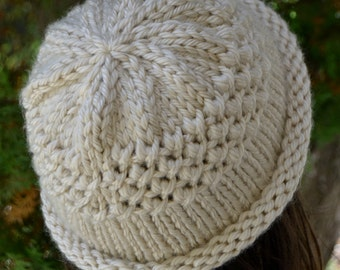Knit Rolled Brim Cloche Hat Beanie, Hand Knit in CREAM (1327)