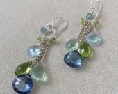 Gemstone Waterfall Earrings in Sterling Silver with Mystic Tanzanite Blue Topaz, Peridot, Green Fluorite, Sky Blue Topaz, Blue Zircon
