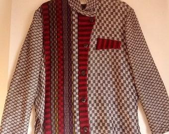 FLASH SALE Tregea Bevan sweater knit shirt jumper pullover L boho punk eighties mod op art check checkerboard