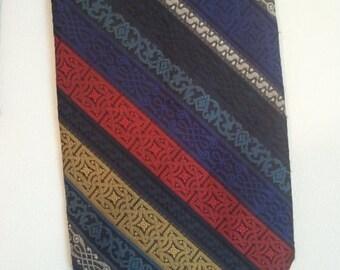 FLASH SALE 70s polyester tie cocktail rainbow stripe grunge punk textured