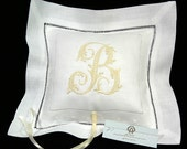 Irish Linen Ring Bearer Pillow,  Ring Bearer Pillow personalized with embroidered Initial, Style 6145