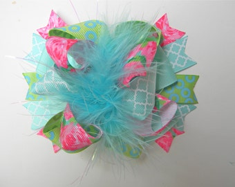 Lilly Hair Bow - First Impression Hair bow-Rose Hair bow - Turquoise Hot pink Lime Green