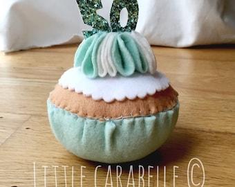 Handmade Felt Birthday Cupcake featuring celebration age in glitter candles - 50th
