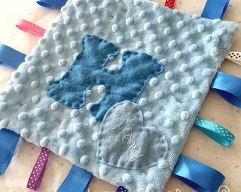 Handmade personalised ribbon baby comforter blanket in plush/minky dimples with a Initial