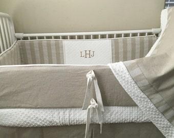 Chevron  Modern taupe ivory linen  Custom Baby bedding Bumper Pad Crib Set DEPOSIT Down payment ONLY