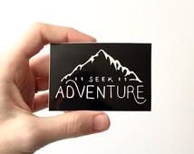 Vinyl Sticker . Seek Adventure . Hiking Gear Laptop Sticker Camping Sticker Car Decal Bumper Sticker Mountain Outdoors Sticker MacBook Decal