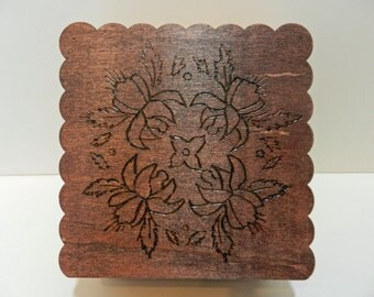 Wood Burnt Floral and Scroll Wooden Box
