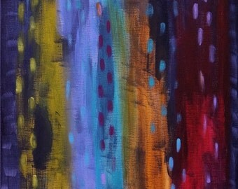 Abstract Original Painting, Modern Contemporary Art, Colorful Rain, 16x20, Free Shipping
