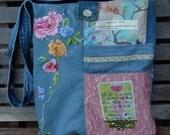 "Mixed Denim Fabric Patchwork Bag ""Amazing Grace"",Handmade CrossBody Bag, Eco-Friendly bag,Shoulder Bag,Messenger Bag,Quilted Bag,Pink & Blue"