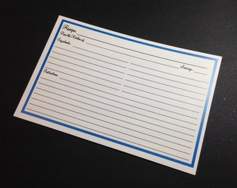 Clearance - Recipe cardwith blue border Plain double sided. in 4x6