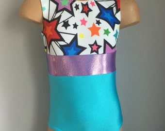 Blue  Gymnastics Dance Leotard with Star Insert. Toddlers Girls Gymnastics Leotard. Dancewear.   Size 2T - Girls 10