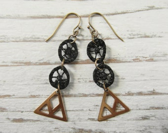 Raw Brass Triangle & Black Circle Geometric Earrings / Eco Friendly Upcycled Repurposed Lace / Festive Elegant Long Statement Earrings