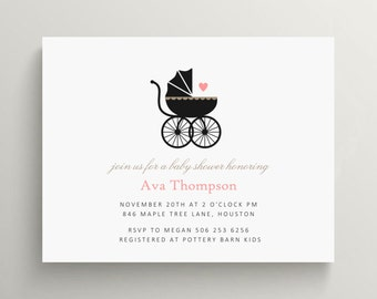 vintage buggy baby shower invitation set // baby announcement // stroller // baby carriage invitation // thank you note // simple