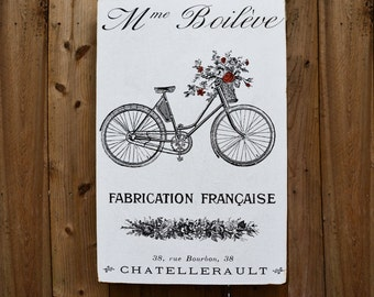 FRENCH BIKE with ROSES - 24x36 - salvaged wood - Home Decor - RuPiper Designs Original Design