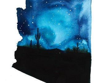Arizona, print from original watercolor illustration by Jessica Durrant from the The Painting 50 States Project