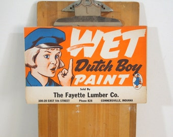 Vintage Dutch Boy Wet Paint Cardstock Advertising sign Store Display