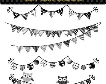 ON SALE clipart, Flag banner, Bunting , INSTANT Download , black and white bunting , gray bunting