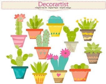 ON SALE cactus clipart, cactus garden clipart, plants clipart, Cactus Flower