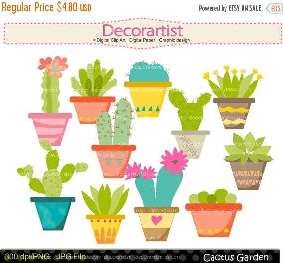 Cacti CACTUS Clip Art No1 Cactus Garden Plants Clipart Cute Flower Succulents
