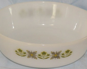 Vintage Anchor Hocking Fire King Meadow Green 1.5 Quart Casserole Bowl #437