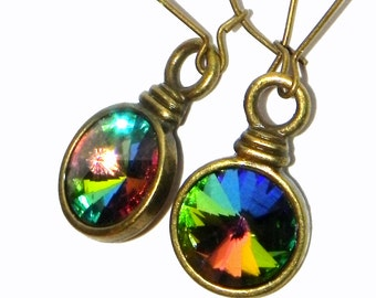 Rainbow Swarovski Crystal Earrings - Rivoli Vitrail Medium  - Round brass bezels