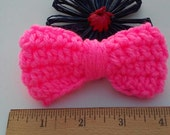 Hot Pink Bow / Bows / Crochet Bow / Applique / Craft Bows / Yarn Bows / Craft Supply /